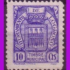 Sellos: TIMBRE MUNICIPAL LOGROÑO, 10 CTS AZUL (*). Lote 295739793