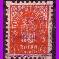 Sellos: TIMBRE MUNICIPAL BOIRO, CORUÑA, 1 PTA. ROJO (O). Lote 295739913