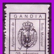Sellos: TIMBRE MUNICIPAL GANDÍA, VALENCIA, 25 PTAS. NEGRO (O). Lote 295740033