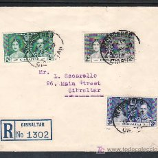 Sellos: GIBRALTAR 99/101 CIRCULADA CERTIFICADA PRIMER DIA, CORONACION DE GEORGE VI,. Lote 10858358