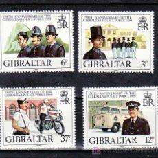 Sellos: GIBRALTAR 403/6 SIN CHARNELA, AMBULANCIA, MOTOS, TRAJES, 150 ANIVERSARIO DE LA POLICIA,. Lote 32331157