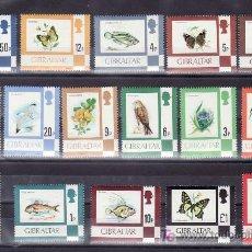 Sellos: GIBRALTAR 348/63 SIN CHARNELA, FAUNA, FLORES, MARIPOSAS, PECES, AVES, PAJAROS,. Lote 10843504