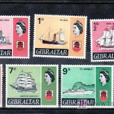 Sellos: GIBRALTAR 184, 185, 189, 191, 193, 195 SIN CHARNELA, ISABEL II, ESCUDO, BARCO,. Lote 10843505