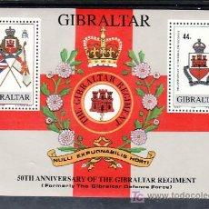 Sellos: GIBRALTAR HB 11 SIN CHARNELA, 50º ANIVERSARIO DE LAS FUERZAS DE DEFENSA, REGIMIENTO DE GIBRALTAR. Lote 9950513
