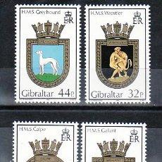 Sellos: GIBRALTAR 611/4 SIN CHARNELA, BARCO, ESCUDOS DE LA ROYAL NAVY,. Lote 10843461