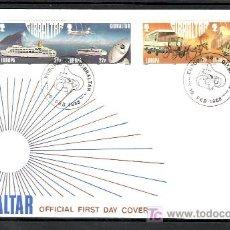 Sellos: GIBRALTAR 555/8 PRIMER DIA, TEMA EUROPA 1988, TRANSPORTES Y COMUNICACIONES,. Lote 10843466