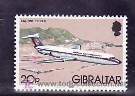 GIBRALTAR 448 SIN CHARNELA, AVION BAC ONE-ELEVEN (Sellos - Extranjero - Europa - Gran Bretaña)