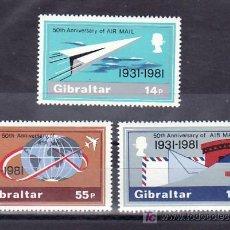 Sellos: GIBRALTAR 430/2 SIN CHARNELA, AVION, 50º ANIVERSARIO DEL SERVICIO POSTAL AEREO,. Lote 9989887