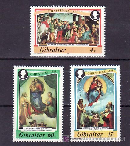 GIBRALTAR 480/2 SIN CHARNELA, NAVIDAD, PINTURA DE RAPHAEL, (Sellos - Extranjero - Europa - Gran Bretaña)