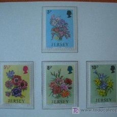 Sellos: JERSEY 1974 IVERT 89/92 *** FLORES DIVERSAS - FLORA. Lote 12600107