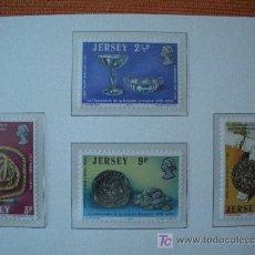 Sellos: JERSEY 1973 IVERT 71/74 *** CENTENARIO SOCIEDAD JERSYANA - ANTIGUEDADES. Lote 12600145