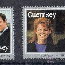 Sellos: GUERNSEY AÑO 1986 YV 369/70*** BODA REAL PRÍNCIPE ANDREW Y SARAH FERGUSON - REALEZA - PERSONAJES. Lote 13528359