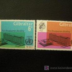 Sellos: GIBRALTAR 1966 IVERT 178/9 *** INAUGURACIÓN SEDE ORGANIZACIÓN MUNDIAL DE LA SALUD EN GINEBRA. Lote 17562061