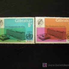 Sellos: GIBRALTAR 1966 IVERT 178/9 *** INAUGURACIÓN SEDE ORGANIZACIÓN MUNDIAL DE LA SALUD EN GINEBRA. Lote 17800075