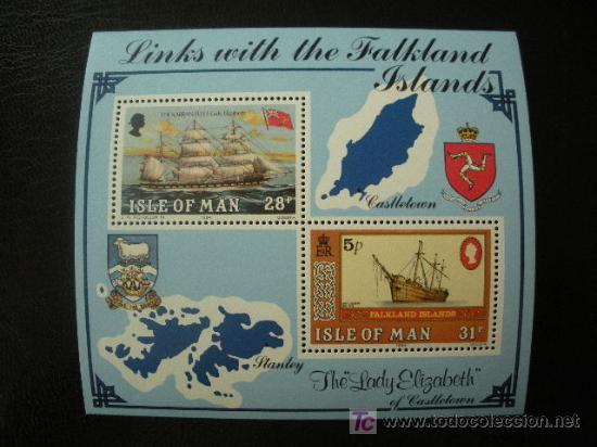 ISLA DE MAN 1984 HB IVERT 7 *** LAZOS HISTORICOS CON LAS ISLAS FALKLAND (Sellos - Extranjero - Europa - Gran Bretaña)