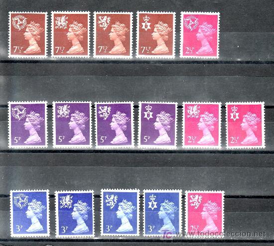 GRAN BRETAÑA 624/39 SIN CHARNELA, REGIONALES, (Sellos - Extranjero - Europa - Gran Bretaña)