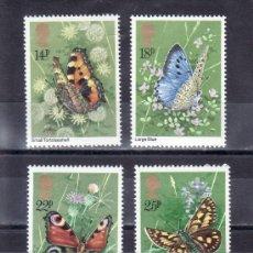 Sellos: GRAN BRETAÑA 992/5 SIN CHARNELA, FAUNA, MARIPOSAS, . Lote 20370733