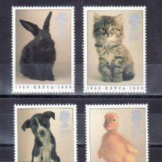 Sellos: GRAN BRETAÑA 1439/42 SIN CHARNELA, FAUNA, 150 ANIVº DE LA REAL SOCIEDAD PROTECCION DE ANIMALES, . Lote 20561493