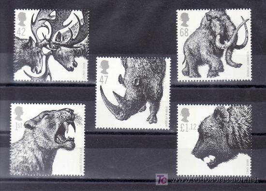 GRAN BRETAÑA 2737/41 SIN CHARNELA, FAUNA, ANIMALES DE LA EPOCA GLACIAL (Sellos - Extranjero - Europa - Gran Bretaña)
