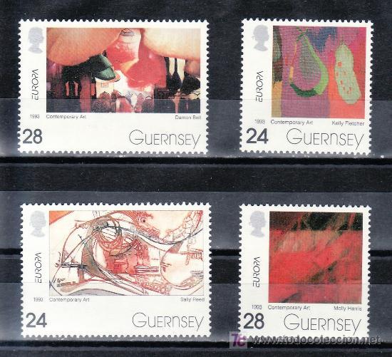 GRAN BRETAÑA-GUERNESEY 616/9 SIN CHARNELA, TEMA EUROPA, ARTE CONTEMPORANEO, (Sellos - Extranjero - Europa - Gran Bretaña)