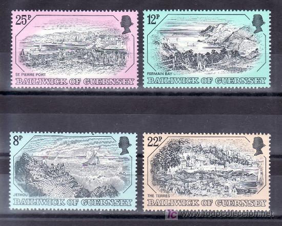 GRAN BRETAÑA-GUERNESEY 243/6 SIN CHARNELA, GRABADOS ANTIGUOS DE GUERNESEY (Sellos - Extranjero - Europa - Gran Bretaña)