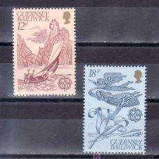Sellos: GRAN BRETAÑA-GUERNESEY 217/8 SIN CHARNELA, TEMA EUROPA, FOLKLORE, BARCO, VELERO, FLORES. Lote 40910846