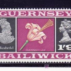 Sellos: GRAN BRETAÑA-GUERNESEY 14 SIN CHARNELA, FLORES, LIS DE GUERNESEY-ISABEL I. Lote 21126761