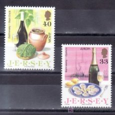 Sellos: GRAN BRETAÑA-JERSEY 1203/4 SIN CHARNELA, TEMA EUROPA, GASTRONOMIA, VINOS,. Lote 20793745