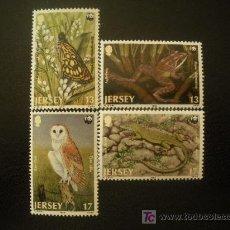 Sellos: JERSEY 1989 IVERT 470/3 *** FAUNA DE JERSEY. Lote 21038700