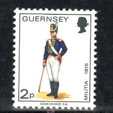 Sellos: GRAN BRETAÑA-GUERNESEY 91 SIN CHARNELA, UNIFORMES MILITARES, ARTILLERIA DE GUERNESEY 1815. Lote 107272022