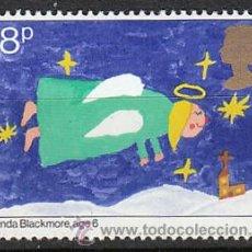 Sellos: INGLATERRA IVERT 1013, NAVIDAD 1981, DIBUJOS DE NIÑOS (ANGEL), NUEVO. Lote 221865082