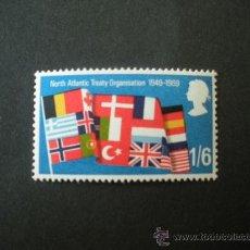 Selos: GRAN BRETAÑA 1969 IVERT 560 *** 50º ANIVERSARIO DE LA OTAN - BANDERAS. Lote 26395234