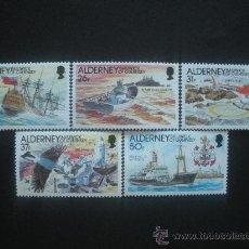 Sellos: ALDERNEY 1991 IVERT 49/53 *** HISTORIA DEL FARO DE LA CASQUETS - BARCOS Y FAROS. Lote 29816745