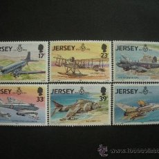 Sellos: JERSEY 1993 IVERT 609/14 *** HISTORIA AVIACION (V) - 75 ANIVERSARIO ROYAL AIR FORCE - AVIONES. Lote 30101295