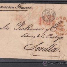 Sellos: GRAN BRETAÑA PREFILATELIA DE LONDRES A SEVILLA, FECHADOR LONDON / PAID / 1848 EN ROJO Y +. Lote 33069638