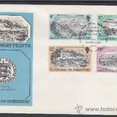 Sellos: GRAN BRETAÑA-GUERNESEY 243/6 PRIMER DIA, GRABADOS ANTIGUOS, VISTAS DE GUERNESEY. Lote 32914572