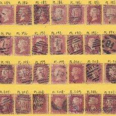 Sellos: COLECCION DE SELLOS DE GRAN BRETAÑA DE 1858 A 1879, PENNY ROJO, DIFERENTE NUMERO DE PLACA O PLATO. Lote 34903335