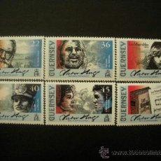 Sellos: GUERNESEY 2002 IVERT 923/8 *** BICENTENARIO NACIMIENTO ESCRITOR VICTOR HUGO - PERSONAJES . Lote 37819563