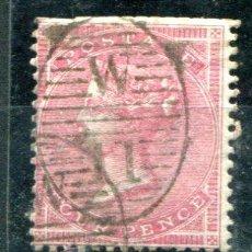 Sellos: YVERT 18 DE INGLATERRA. FOUR PENCE, AÑOS 1855-1857. SIN DIENTES BORDE SUPERIOR. MATASELLADO. . Lote 41219165
