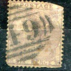 Sellos: YVERT 19 DE INGLATERRA. SIX PENCE, AÑOS 1855-1857. MATASELLADO. FALTAN DIENTES LADO SUPERIOR DERECHA. Lote 41219196