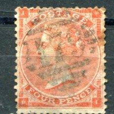 Sellos: YVERT 25 DE INGLATERRA. FOUR PENCE, AÑO 1862. MATASELLADO. .. Lote 41219367