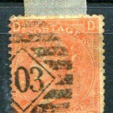 Sellos: YVERT 32 DE INGLATERRA. FOUR PENCE, AÑO 1865. MATASELLADO. . Lote 41219544