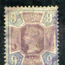 Sellos: YVERT 101 DE INGLATERRA. 9 PENCE 1887-1900. MATASELLADO. .. Lote 41223196