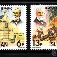 Sellos: MAN 127/28** - AÑO 1977 - J. K. WARD - PIONERO EN CANADA. Lote 43380269