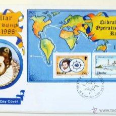 Sellos: GIBRALTAR. SOBRE FILATELICO 1º DIA. OPERACION RALEIGH. GIBRALTAR 1988. MAS HOJITA BLOQUE. BARCOS.. Lote 44760980