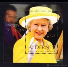 Sellos: ALDERNEY HB 9** - AÑO 2001 - 75º ANIVERSARIO DE LA REINA ISABEL II. Lote 45017284