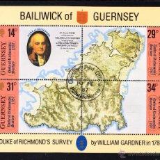 Sellos: GUERNSEY HB 7 - AÑO 1987 - BICENTENARIO DEL PRIMER MAPA DE LA ISLA. Lote 45266376