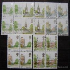 Sellos: GRAN BRETAÑA - IVERT 932/35 SELLOS NUEVOS (**) - MONUMENTO HISTORICO DE LONDRES - BLOQUES DE 4 SERIE. Lote 47727570