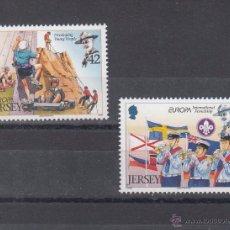 Sellos: GRAN BRETAÑA-JERSEY 1331/2 SIN CHARNELA, TEMA EUROPA, SCOUTS,. Lote 51785863