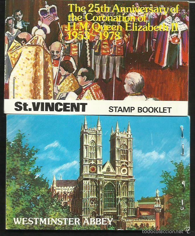ST VINCENT 25º AÑOS CORONACION REINA ELIZABETH II CARNET DE LUJO CON BLOQUES DE SELLOS CATEDRALES (Sellos - Extranjero - Europa - Gran Bretaña)
